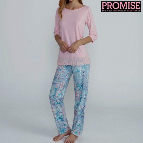 Pijama promise en modal y pantalón fantasía